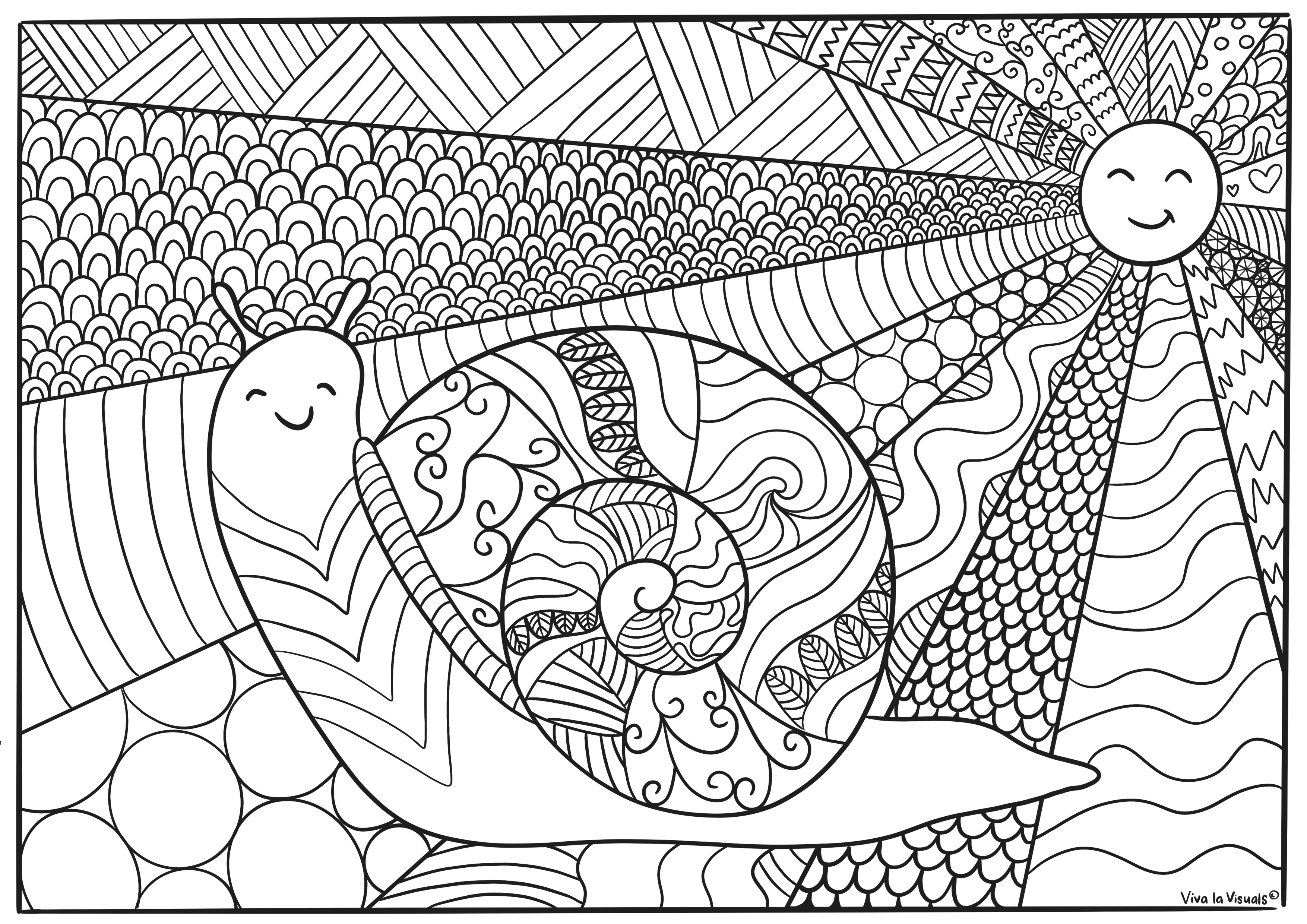 volwassen kleurplaat zomer slak doodles zakelijk tekenen